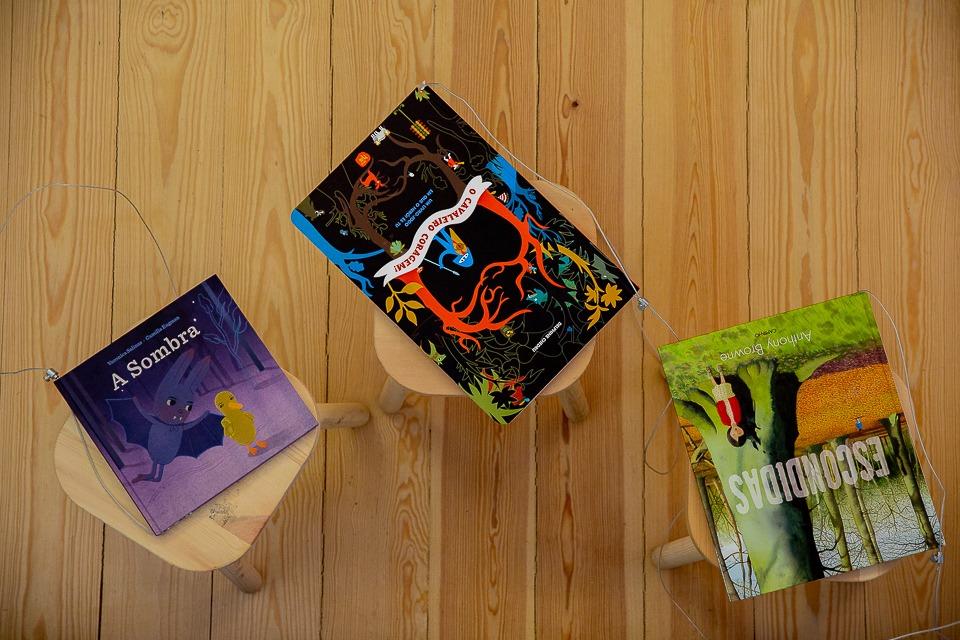 Fotografia de três livros da biblioteca do público para o espetáculo Um Tigre-Lírio é Difícil de Encontrar.