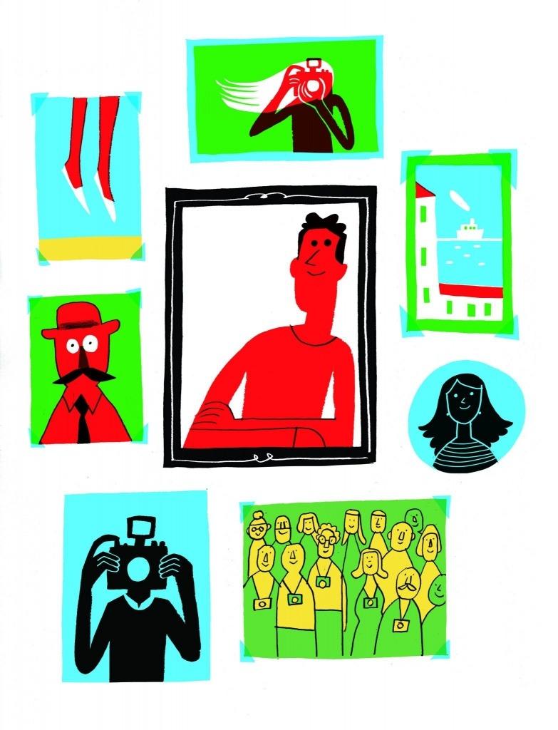 Ilustração de João Fazenda com desenhos de várias molduras e suas respectivas fotografias.