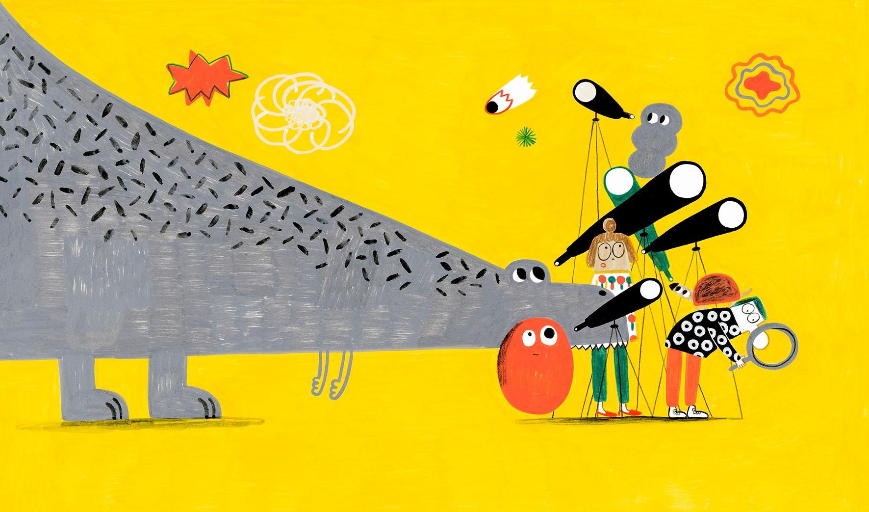 Ilustração de Catarina Sobral com um menino, uma menina, um dinossáurio, um tatu e duas criaturas imaginárias a olharem olharem para estrelas através de telescópios.