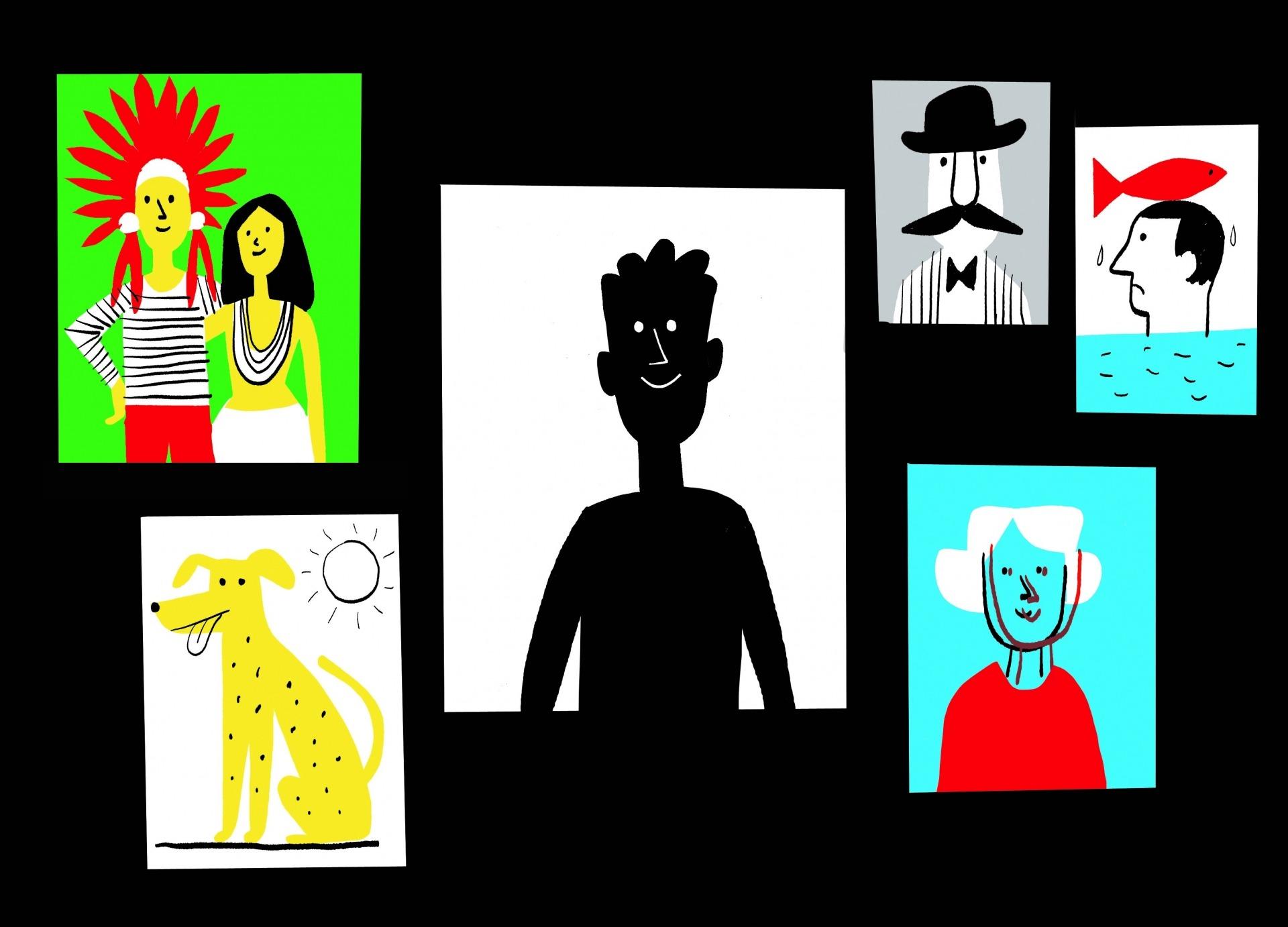 Ilustração de João Fazenda de uma parede com cinco fotografias.