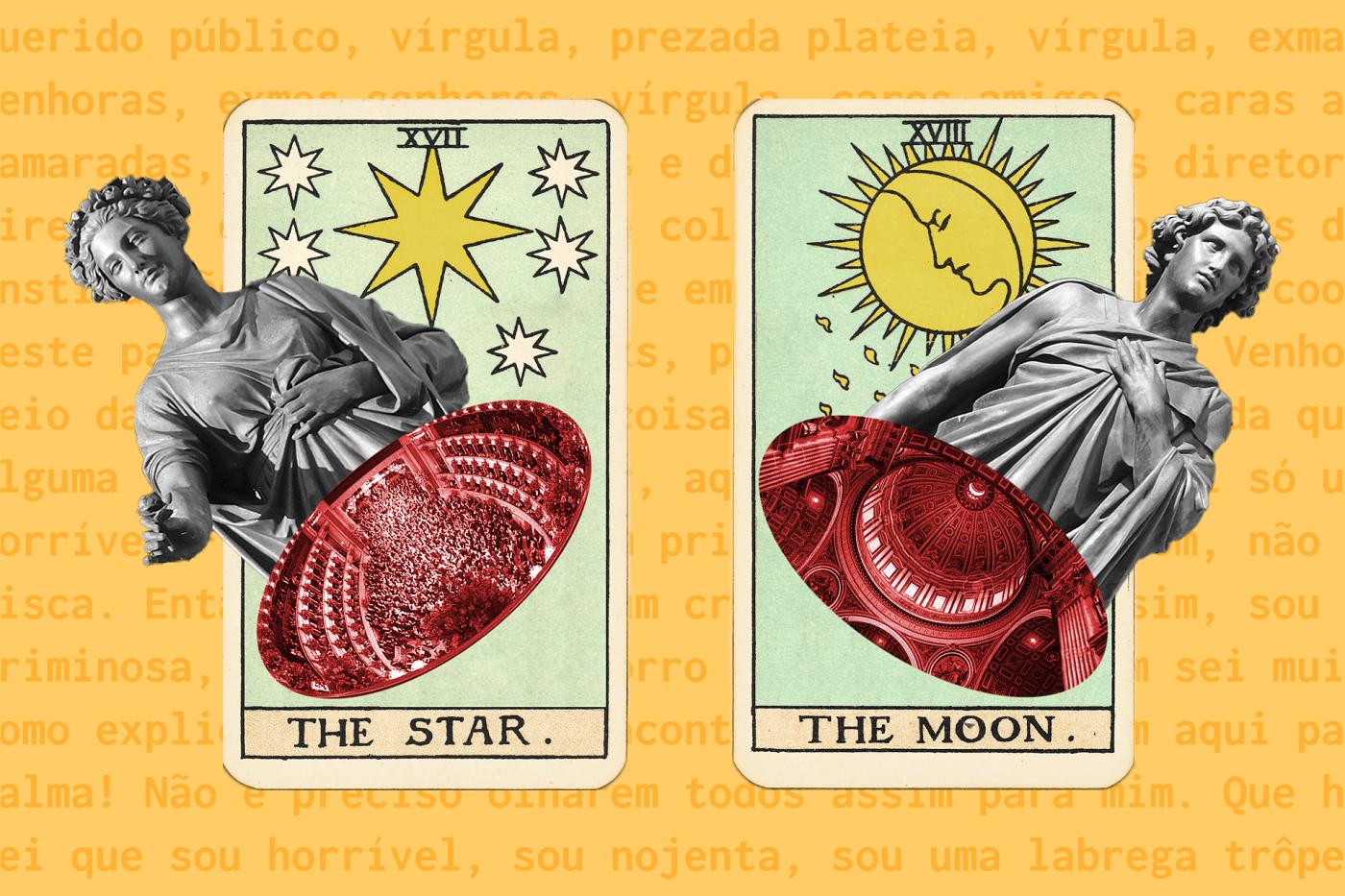 Duas cartas de tarot (A Estrela e A Lua) sobre fundo amarelo. A carta da Estrela tem um busto feminino sobreposto; a carta da Lua, uma busto masculino.