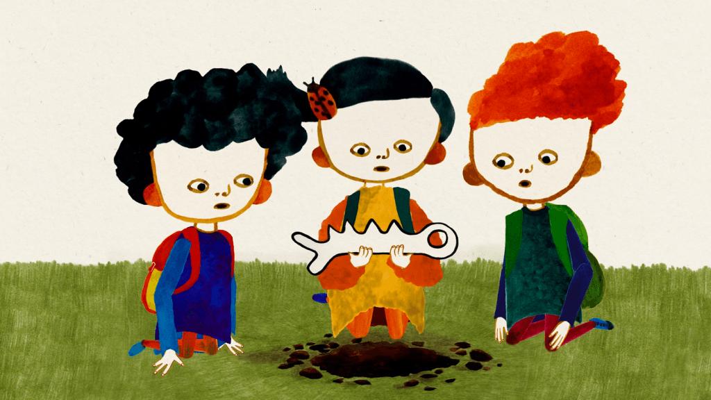 Fotograma do filme de animação The New Species, de animação de Kateřina Karhánková. Três crianças ajoelhadas observam um esqueleto de um animal não identificável que escavaram do chão. A criança do meio segura o esqueleto.