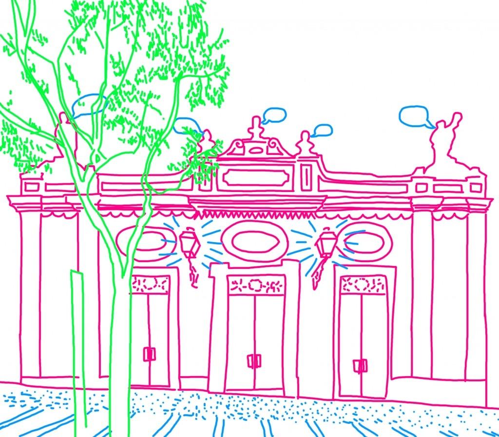 Desenho com cores da fachada do Teatro a cor-de-rosa, verde e azul.