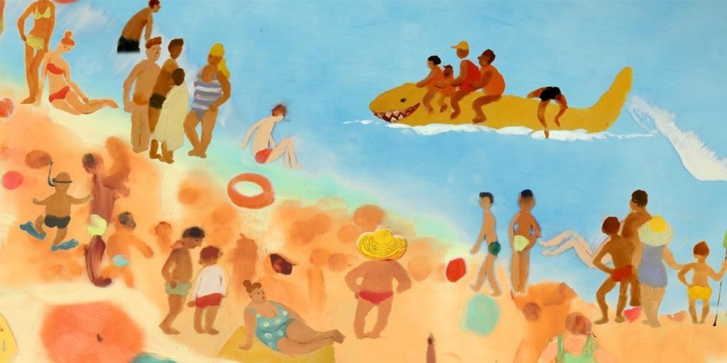 Still do filme Aula de Natação, em ilustração..
