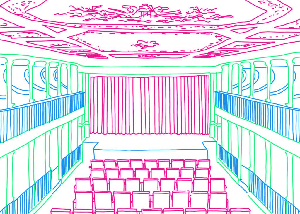 Ilustração do interior da sala de espetáculos do LU.CA