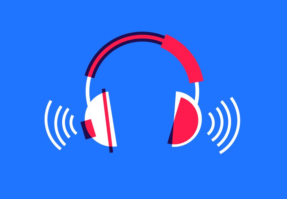 Ilustração de headphones com ondas de som