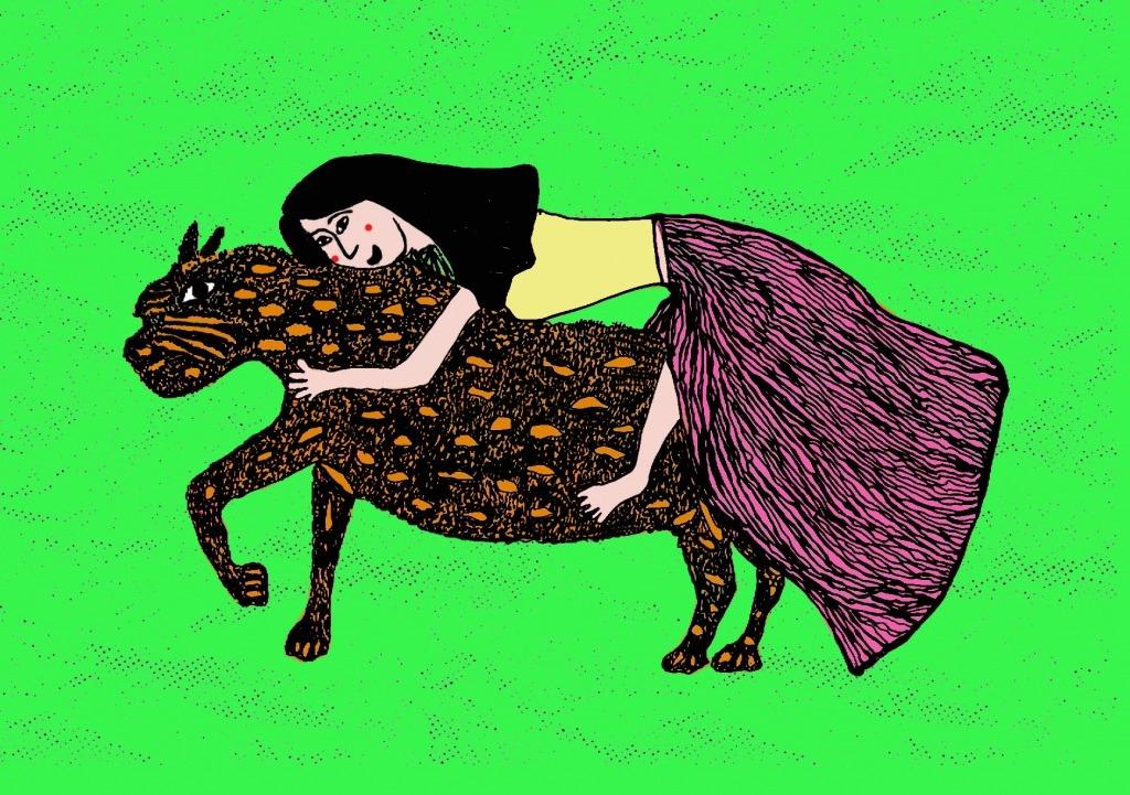 Ilustração de Gonçalo Antunes de uma mulher de saia abraçada a uma chita.