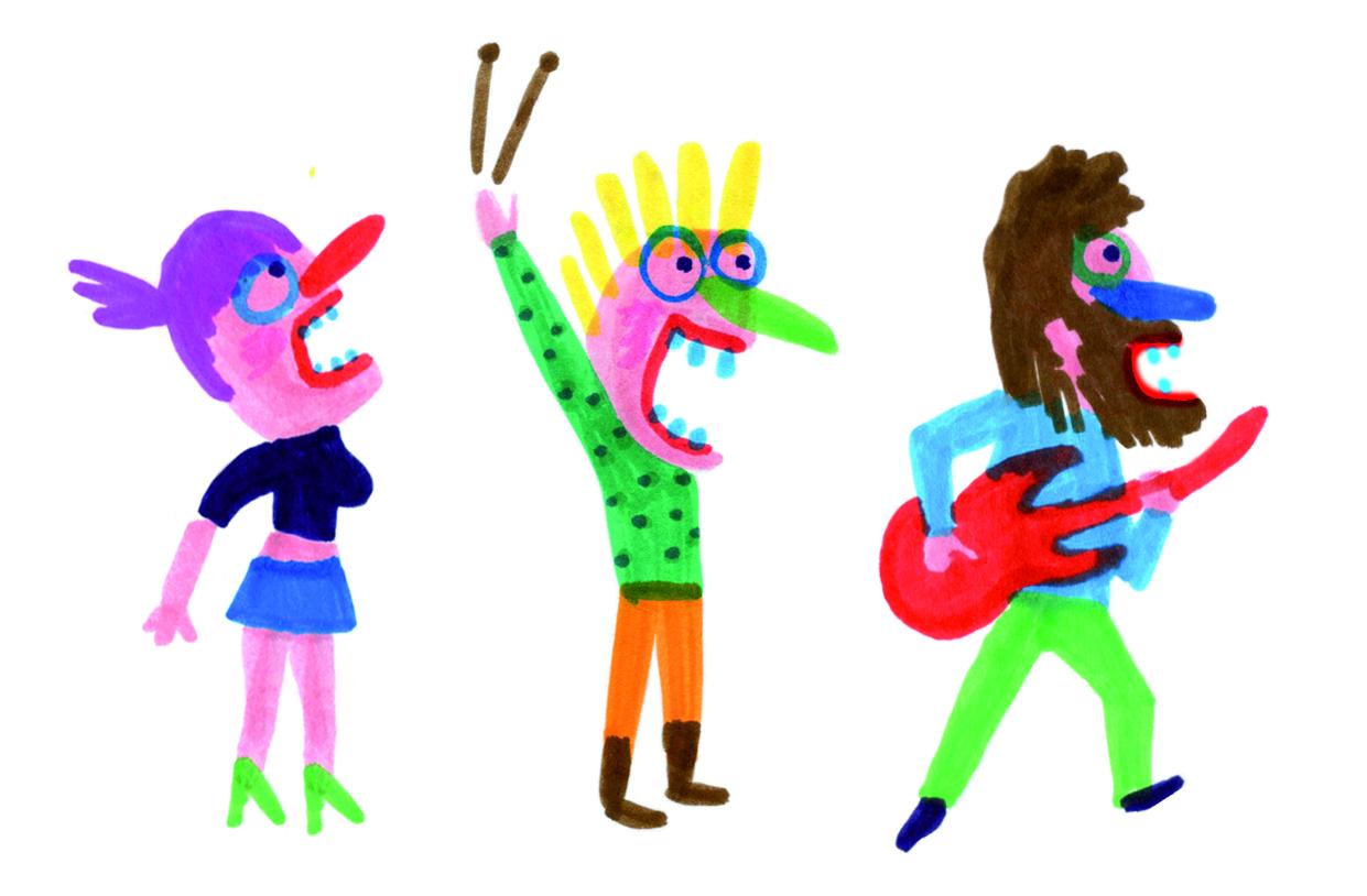 Ilustração de Bernardo P Carvalho. Três figuras retiradas do livro