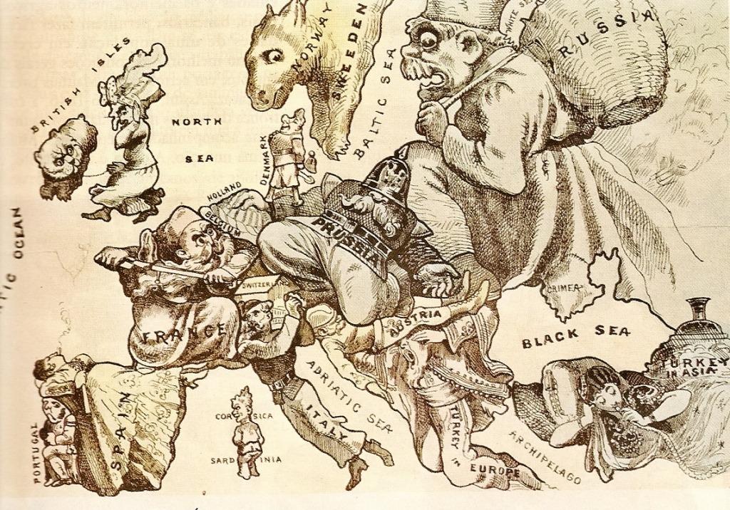 ilustração da europa, em que cada paísestá representada por uma figura mística.