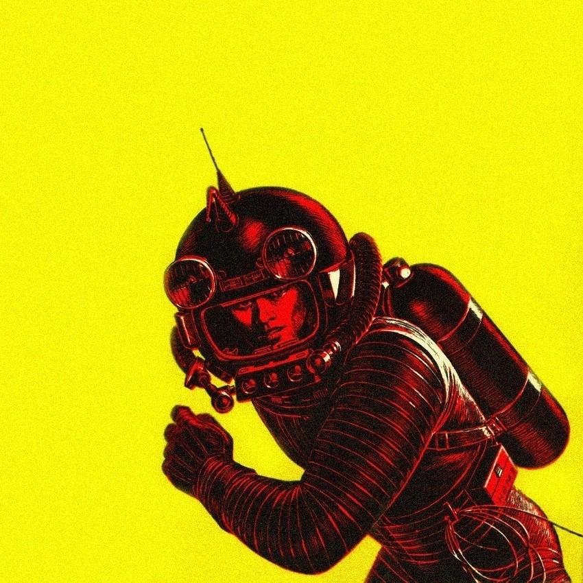 ilustração de um astronauta em vermelho sobre fundo amarelo