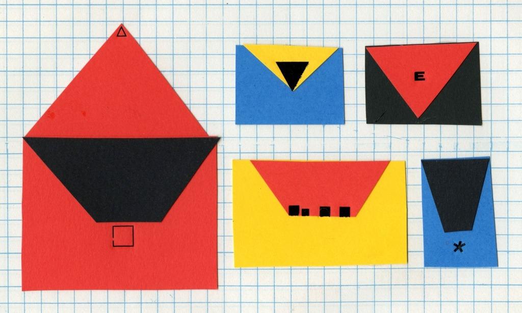Ilustração de Maria Remédio onde se vê 5 envelopes de diferentes cores.