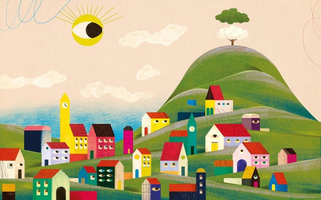 ilustração de Gonçalo Viana na qual se pode ver uma aldeia de casas às cores numa montanha verde.