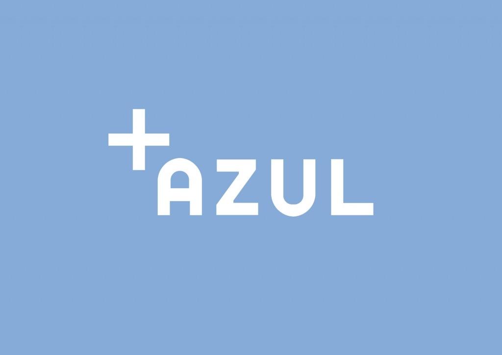 Símbolo do ciclo que é um sinal de mais e a palavra azul escrita sobre fundo de cor azul